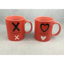 Zwei-Ton-Becher, rote Becher, Werbe-Keramik-Becher