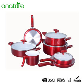 Pressed Ceramic Non-Stick Metaillc Aluminum Cookware Set