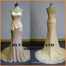 2016 strapless peplum sheath sweep train champagne color evening dress