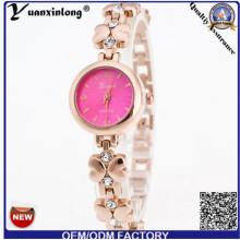 Yxl-409 diseño simple mujeres de lujo reloj de señora aleación de diamantes placa de oro relojes de pulsera venta al por mayor