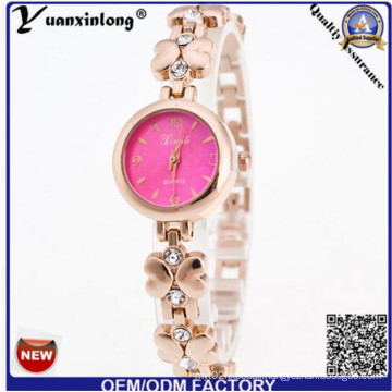 Yxl-805 Fashion Ladies Watch Bracelet Crystal Stone with Flower Pattern Steeel Band