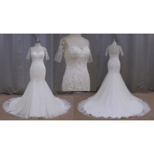 Vestido de novia de encaje de manga corta sirena
