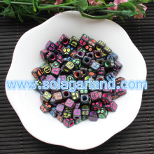 6x6MM Black Mix Expression Face Beads Charms Loose Spacer Square Cube Beads