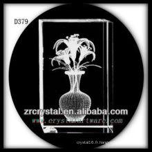 Fleur de lys Laser K9 3D à l'intérieur du rectangle de cristal