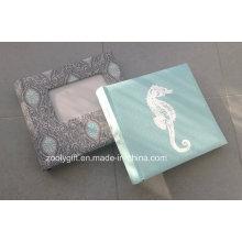 Tela de lino cubierta de fotos de familia Álbumes con pantalla de seda Imprimir y ventana de fotos