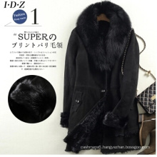 Black Lady′s Shearing Leather and Fur Jacket Long Style Fox Fur