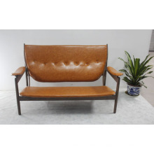 Solid Wood with Leather Soft Modern Style Sofa