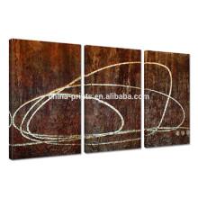 Lignes abstraites Peinture à l'huile sur toile / Triptyque Peinture à la main Décoration intérieure / Original peint à la main Art