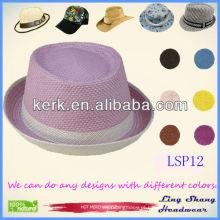Moda elegante roxo Panamá mulheres 100% papel chapéu de palha, LSP12