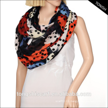 2016 Fashion young tube scarf infinity wholesale black and white polka dots scarf