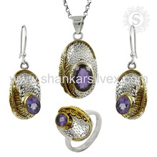 Trendy Earring Handmade Silver Jewelry Amethyst Set Indian Silver Jewelry Wholesaler