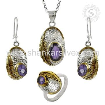 Brinco de moda Jóias de prata artesanal Conjunto de ametista Jóias de prata indianas Atacadista