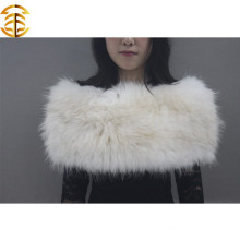 New Arrival Ladies Warm Winter Fur Shawel Lenço para Real Raccoon Branco