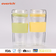 Best Selling Double Wall Glass Lid High-grade 300ml Glass Cup