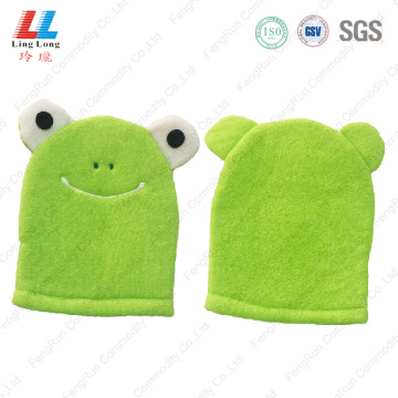 Frog style baby body cleaning bath gloves