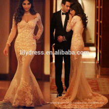 Dernières Nude Mermaid Style Floor Length Custom Made Long Prom Party Robes Vestido De Fiesta PD108 dentelle à manches longues robe de bal
