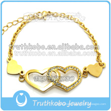New design stainless steel fashion jewellery hollow out butterfly & etched tribal pattern double heart charm bracelets with CZ