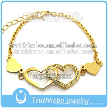 Nouveau design bijoux en acier inoxydable creuse papillon & motif tribal gravé bracelets double breloque coeur avec CZ