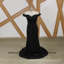 Sereia preta vestidos de dama de honra elegante barco pescoço frisado vestido de dama de honra
