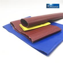 Tuyau de tuyau plat de l'agriculture de PVC de couleur rouge / jaune et bleue
