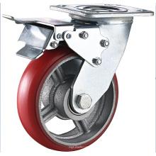 Roda de rodízio giratória de ferro fundido PU resistente