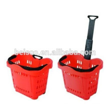 Hot sale two wheels rolling basket with telescopic handle