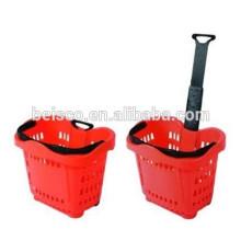 Rodas venda quente dois rolando cesta com alça telescópica