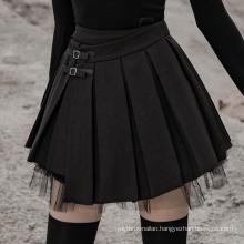 OPQ-452 PUNK RAVE PU buckle decorative pleated half skirt cheap sexy dress club dance dress