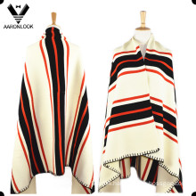 Women Wool Acrylic Blended Stripe Pattern Knitted Poncho