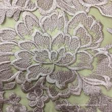 Material de bordado de encaje de flores rosadas para el vestido