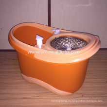 Sistema de doble función para lavado por centrifugado y secado Rolling Spin Mop con 3 cabezales de fregona de microfibra