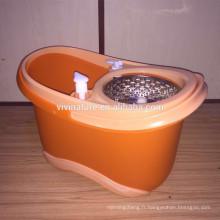 Système à double fonction pour le lavage et le séchage de la vadrouille rotative à essorage avec 3 têtes de vadrouille en microfibre