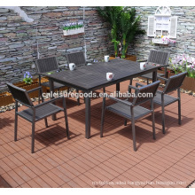 2017 new 7pcs aluminium polywood furniture for garden