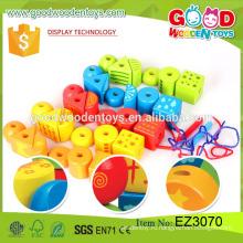 2016 горячие продажи образовательных куб игрушки деревянные красочные DIY шарик игрушка