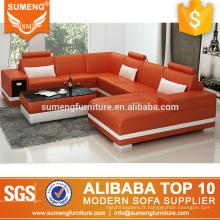 2017 américain élégant salon meubles orange blanc en cuir canapé canapé ensemble