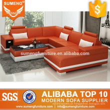 2017 americano elegante sala de estar móveis de couro branco laranja sofá conjunto de sofá