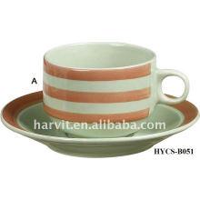 Fashion design strip decal Stoneware Tea Cup&Saucer