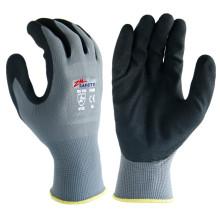 Doigts de paume en gel de polyester, épaisseur 13, enduits de noir Gants de nitrile sablés noirs à usage général