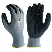Lightweight 13 Gauge Polyester Shell Palm Fingers Coated Black Sandy Nitrile Gloves for General Purposes