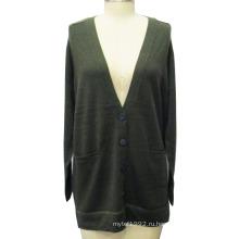 Хорошее качество с длинным рукавом трикотажные кардиган женщин свитер