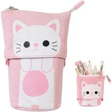 Stand Store Pencil Holder Canvas PU Cartoon Cute Cat Telescopic Pencil Pouch Bag Stationery Pen Case Box