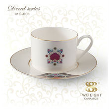 OEM fine china ceramic porcelain tea cups and saucers for wholesale