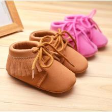 Cáqui e rosa mocassins infantis de 0-1 anos criança mole sapatos de bebê macia