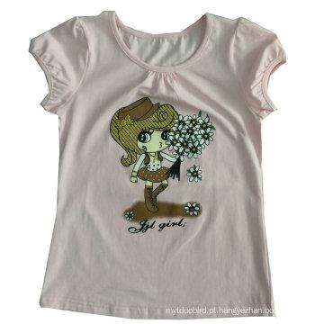 T-shirt da forma da menina bonito da criança em roupas de crianças desgaste Sgt-085
