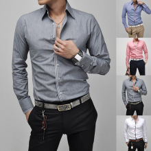 Mens Button Frente Slim Fit Dress Casual Camisas Formais