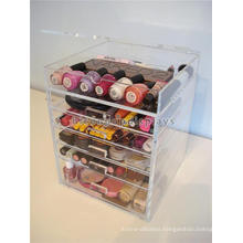 Make Up Shop Promotional Stand Table Top 5 Layer With Drawer Transparent Acrylic Nail Art Display