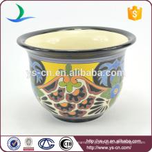 YSfp0009-01 Flowerpot ornamentais de forma redonda colorido com design de impressão mão