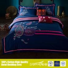 Активный печать разогнать вышивкой текстиль простыни 4шт постельных принадлежностей