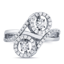 18k Белое золото Dancing Diamond Micro Setting Ring Jewelry