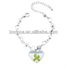 Vier Blatt Kleeblatt Herz Armband